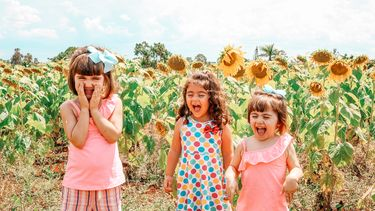 kinderne spelen tevreden in bloemenveld