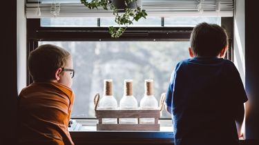 Kind alleen thuis met broertje, kijkend uit het raam