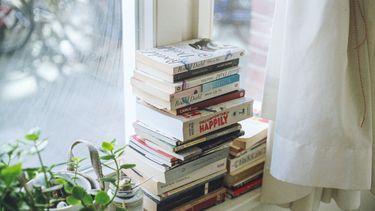 stapel boeken in het raam
