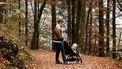 Vader met kind in de kinderwagen in een bos
