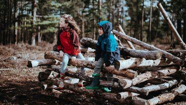 Jongen en meisje die samen buitenspelen in het bos