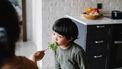 Kind dat meer groenten moet leren eten en een blaadje sla gevoerd krijgt
