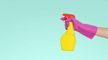 Hand met paarse schoonmaakhandschoen en schoonmaakmiddel, klaar voor het schoonmaken