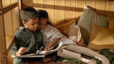Prentenboeken / Broer en zus kijken naar een boek