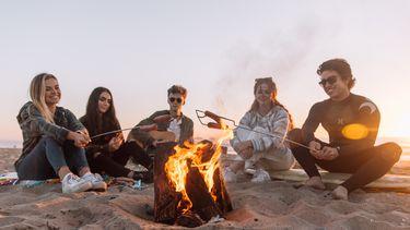 Groep vrienden zit rondom kampvuur op het strand en hebben geleerd nieuwe vrienden te maken