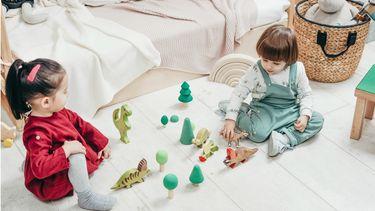 kamer delen / kinderen spelen op hun slaapkamer