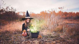 Een Halloween-heksje in een veld met een pompoen