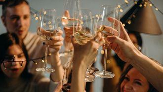 Groep mensen proost met wijn. Tips om minder wijn te drinken