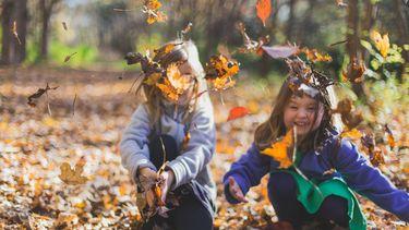 Twee kinderen die uiten in de natuur met blaadjes aan het spelen zijn