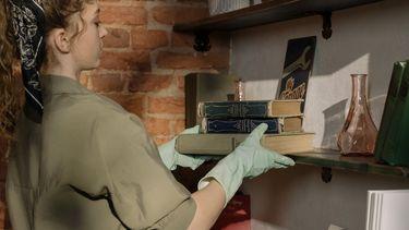voorjaarsschoonmaak / vrouw maakt boekenplank schoon