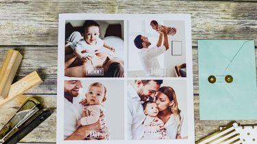 Geboortekaartje / Kaartje met foto's van gezin
